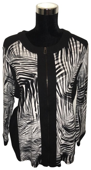Preload https://img-static.tradesy.com/item/26056026/rafaella-black-and-white-zebraesque-zipper-jacket-size-16-xl-plus-0x-0-3-650-650.jpg
