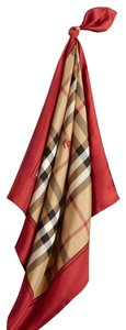 Burberry New Classic Burberry Check Pattern Red Border Silk Scarf