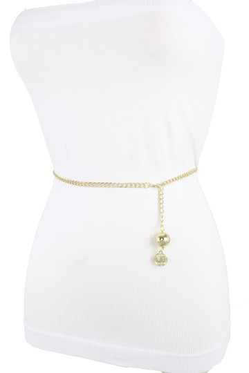 Alwaystyle4you Women Fashion Skinny Belt Gold Metal Chain Coin Ball Charm M L XL Image 2