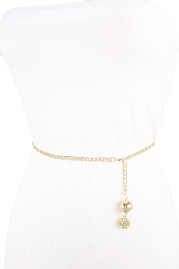 Alwaystyle4you Women Fashion Skinny Belt Gold Metal Chain Coin Ball Charm M L XL Image 7