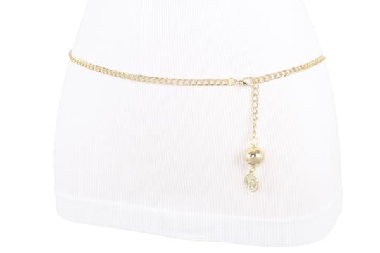 Alwaystyle4you Women Fashion Skinny Belt Gold Metal Chain Coin Ball Charm M L XL Image 9