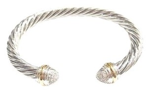 David Yurman David Yurman Pavé Diamond Two Tone Classic Cable Bracelet