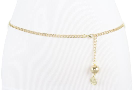 Alwaystyle4you Women Fashion Skinny Belt Gold Metal Chain Coin Ball Charm Plus XL XX Image 1
