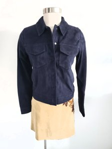J Brand Casual Suede Navy Blue Leather Jacket