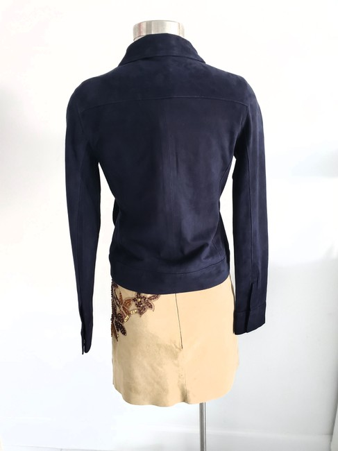 J Brand Suede Women Navy Blue Leather Jacket Image 1