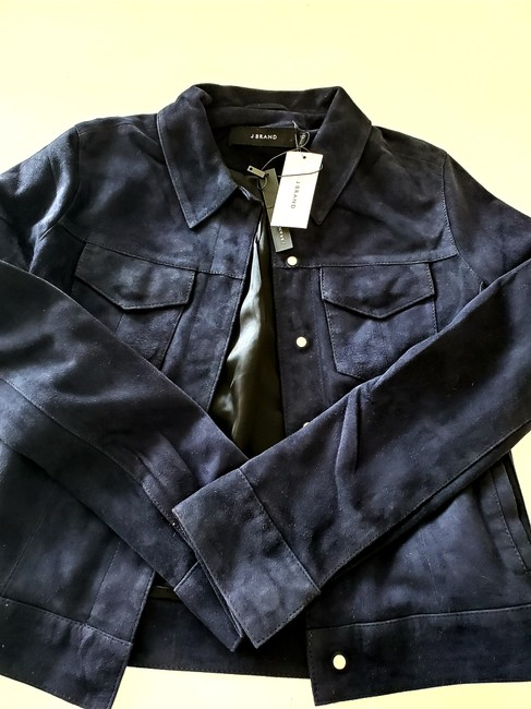 J Brand Suede Women Navy Blue Leather Jacket Image 4