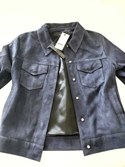 J Brand Suede Women Navy Blue Leather Jacket Image 5