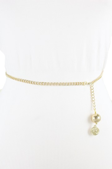 Alwaystyle4you Women Fashion Skinny Belt Gold Metal Chain Coin Ball Charm Size XL XX Image 1