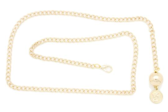 Alwaystyle4you Women Fashion Skinny Belt Gold Metal Chain Coin Ball Charm Size XL XX Image 2
