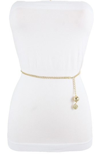 Alwaystyle4you Women Fashion Skinny Belt Gold Metal Chain Coin Ball Charm Size XL XX Image 3