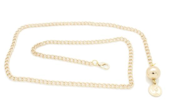Alwaystyle4you Women Fashion Skinny Belt Gold Metal Chain Coin Ball Charm Size XL XX Image 5