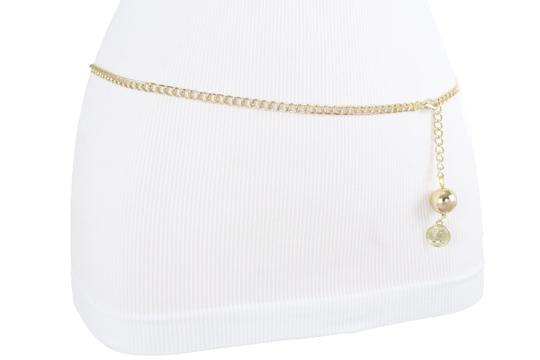 Alwaystyle4you Women Fashion Skinny Belt Gold Metal Chain Coin Ball Charm Size XL XX Image 6