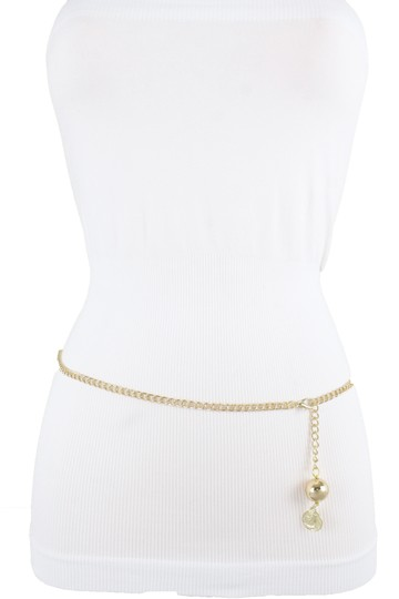 Alwaystyle4you Women Fashion Skinny Belt Gold Metal Chain Coin Ball Charm Size XL XX Image 7