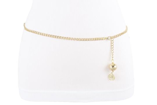 Alwaystyle4you Women Fashion Skinny Belt Gold Metal Chain Coin Ball Charm Size XL XX Image 9