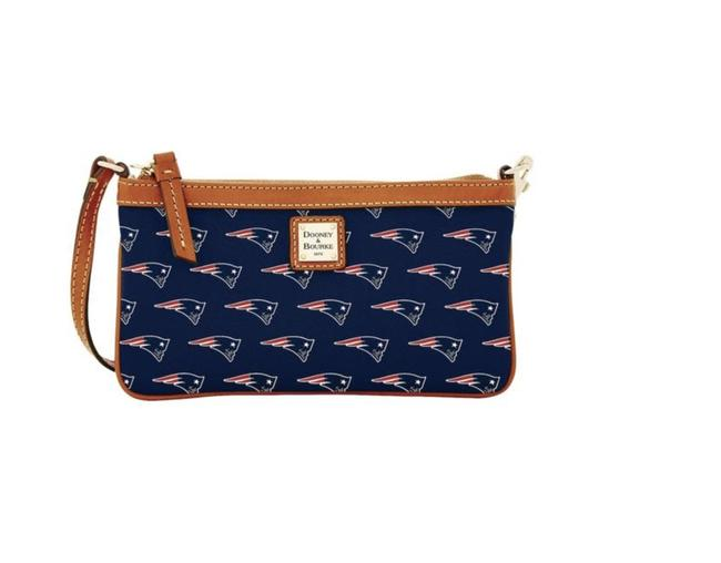 Item - Clutch New England Patriots Red White Navy Gold Coated Canvas / Leather Wristlet