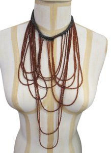 Brunello Cucinelli Brunello Cucinelli Brown Multi Stand Beaded Quartz Necklace - 20 Inches - New