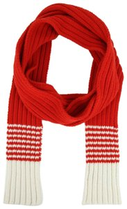 Gucci Men's/Unisex Red Wool Long Scarf with White Stripes 398672 6478