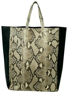 Céline Cabas Vertical Python Leather Large Tote in Black and white