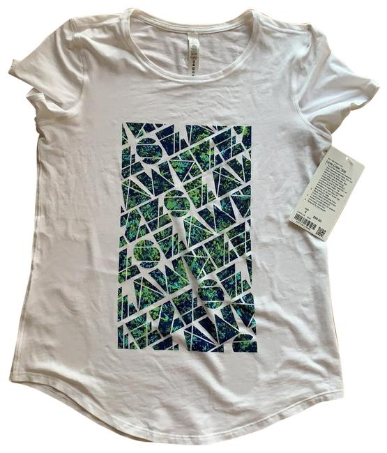 Item - White / Green / Blue Love Crew *seawheeze Activewear Top Size 4 (S)