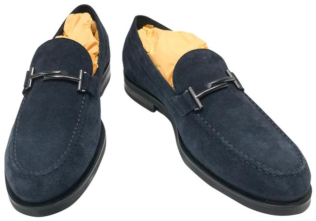 Item - Navy Blue Doppia T Formale Gomma Zf Suede Loafer Flats Size US 9 Regular (M, B)