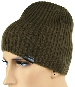 Burberry Olive Green Lightweight Cashmere Knitted Beanie w/Leather Tab 3994783