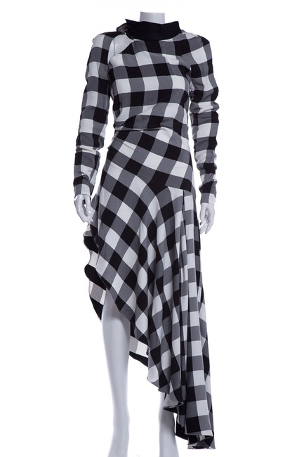 Item - Black & White Check Long Cocktail Dress Size 4 (S)