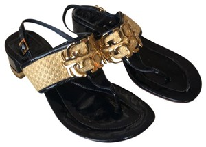 Tory Burch navy, gold, tan Sandals