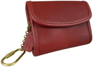 Coach COACH VINTAGE Mini Purse Key Fob Wallet Hang Tag Brass Red VINTAGE New