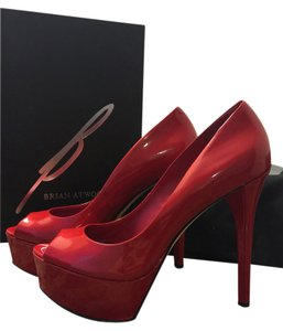 B Brian Atwood Patent Leather Peep Toe Platform Stiletto Red Pumps