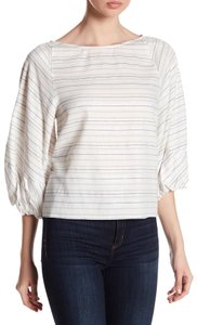 1.STATE Metallic Striped Boat Neck Bishop Sleeve 3/4 Sleeve Top Multi-Color