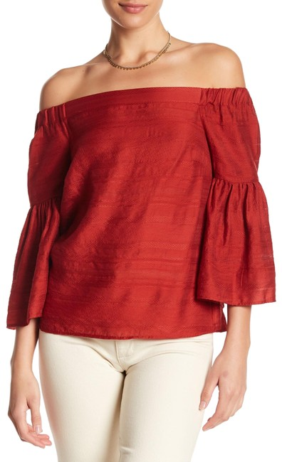 Item - Dark Rust Embroidered Off-the-shoulder Blouse Size 4 (S)