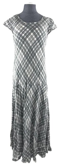 Item - Gray White Check Cotton Short Sleeve Long Casual Maxi Dress Size 8 (M)