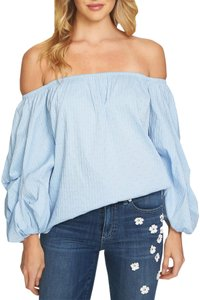 CeCe by Cynthia Steffe Off The Shoulder Balloon Sleeve Striped Elastic Knit Top Blue
