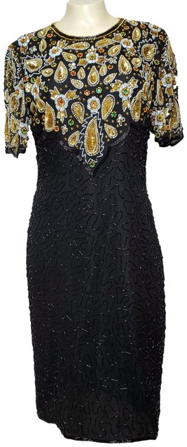 Item - Black Sequin Sheat Mid-length Formal Dress Size 12 (L)