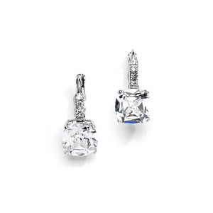 Mariell Gorgeous Cushion Cut Cz Drop Wedding Earrings 4282e