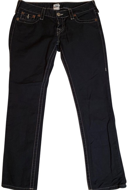 Item - Black Dark Rinse Cotton Linen Blend Button Fly Closure Boyfriend Cut Jeans Size 27 (4, S)