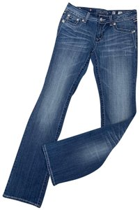 Miss Me Embellished Embroidered Stitching Boot Cut Jeans-Medium Wash