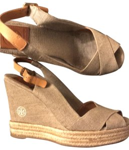 Tory Burch gold and beige Wedges
