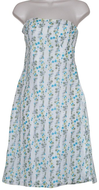 Item - White Blue Green Polka Dots Strapless Cotton Mid-length Short Casual Dress Size 8 (M)