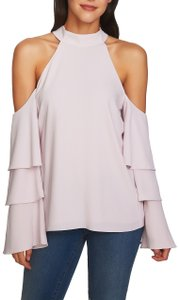 1.STATE Tiered Ruffle Cold Shoulder Tie Crepe Top Purple