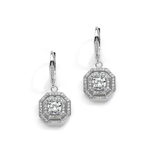 Mariell Vintage Cz Dangle Wedding Earrings In Art Deco Style 4283e