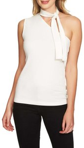 1.STATE One Shoulder Sleeveless Ribbed Knit Monochrome Top Ivory White