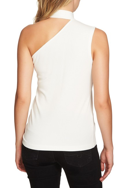 1.STATE One Shoulder Sleeveless Ribbed Knit Monochrome Top Ivory White Image 1
