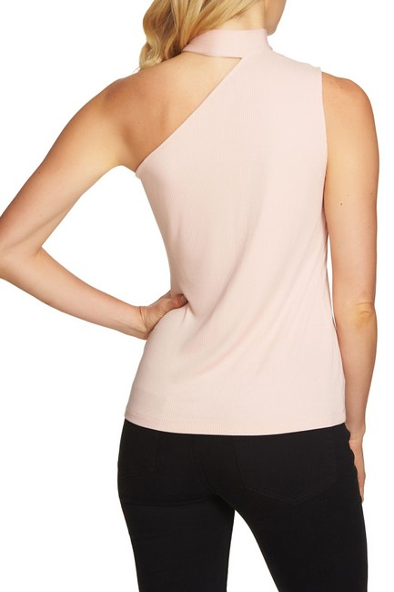 1.STATE One Shoulder Sleeveless Ribbed Knit Monochrome Top Pink Image 1