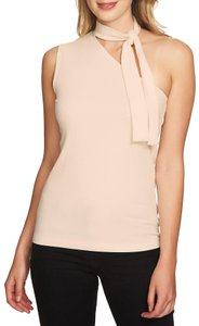 1.STATE One Shoulder Sleeveless Ribbed Knit Monochrome Top Pink