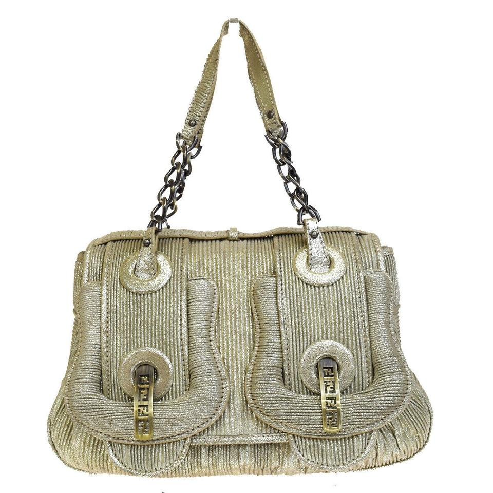 Fendi Ff Logo Chain Made In Italy Gold Leather Shoulder Bag