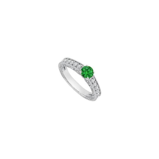 Marco B May Birthstone Created Emerald Milgrain Engagement Rings Image 0
