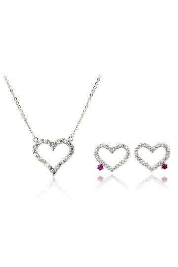 Preload https://img-static.tradesy.com/item/26058746/silver-elegant-heart-crystal-earrings-set-necklace-0-0-540-540.jpg