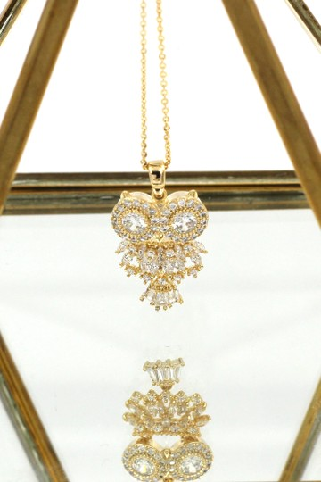 Ocean Fashion Gold owl crystal necklace Image 2