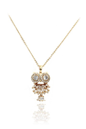 Ocean Fashion 925 gold owl crystal necklace Image 0